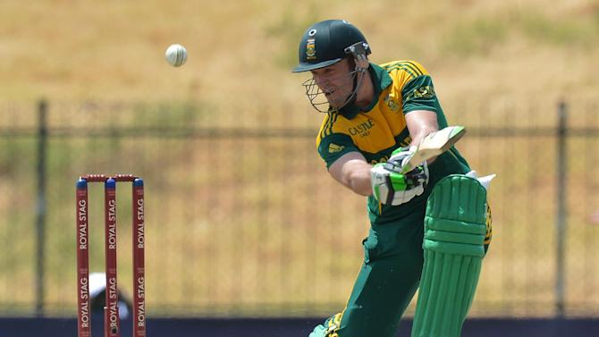 South Africa captain AB de Villiers plays a shot during the third and final one-day international against Sri Lanka at the Mahinda Rajapaksa International Cricket Stadium in Hambantota on July 12, 2014