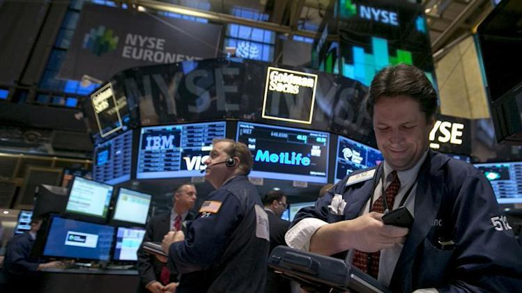 Trader Patrick McKeon works on the floor of the New York Stock Exchange