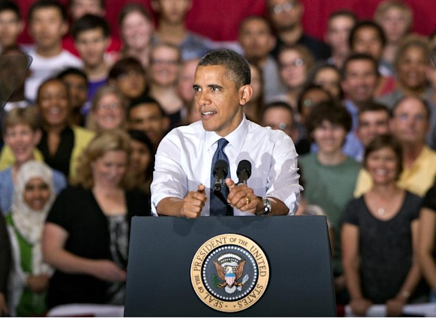 President Barack Obama speaks to students and parents at Washington-Lee High School in Arlington, Va., Friday, May 4, 2012, about his efforts to prevent interest rates from doubling on federal student