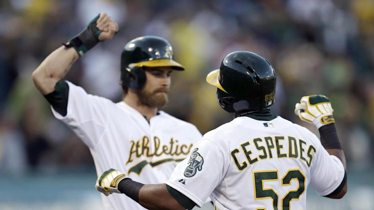 A's hold on for 1st win over Indians in 5 tries