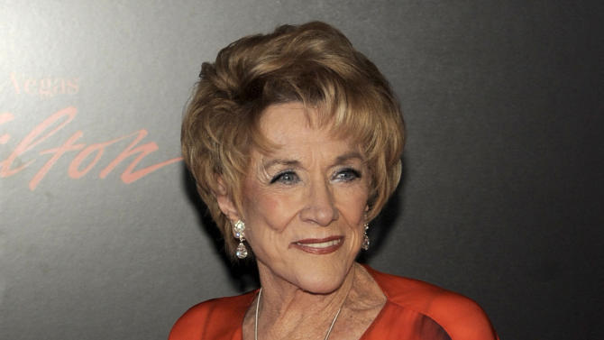 "FILE - In this June 27, 2010 file photo, actress Jeanne Cooper arrives at the 37th Annual Daytime Emmy Awards in Las Vegas. CBS says soap opera star Jeanne Cooper has died. She was 84.  Cooper played grande dame Katherine Chancellor on CBS' ""The Young and the Restless"" for nearly four decades. (AP Photo/Chris Pizzello, File)"