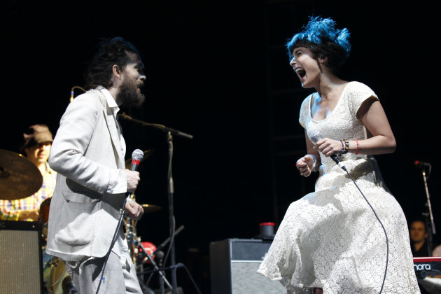 Alex Ebert and Jade Castrinos of the  Edward Sharpe & the Magnetic Zeros  perform at the Myspace Big Easy Express concert at SXSW in Austin, Texas, Saturday, March 17, 2012. (Jack Dempsey/AP Images fo