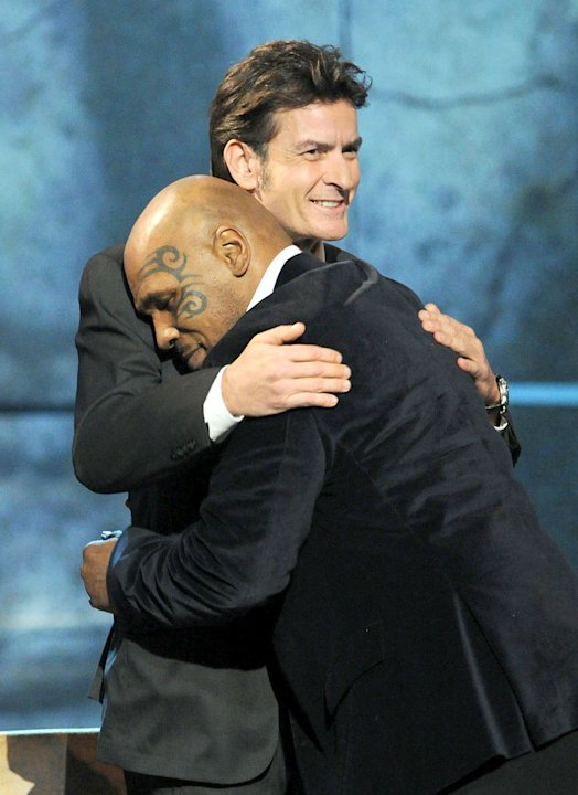Roastee Charlie Sheen and former professional boxer Mike Tyson onstage at Comedy Central's Roast of Charlie Sheen.