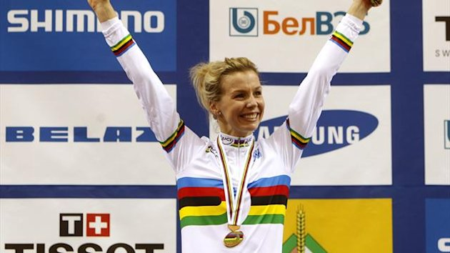 Britain's Rebecca Angharad James celebrates her gold medal win during the women's keirin final at the 2013 UCI Track Cycling World Championships in Minsk (Reuters)