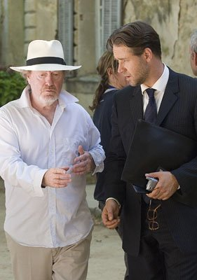 Director Ridley Scott and Russell Crowe on the set of 20th Century Fox's A Good Year