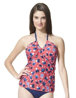 Clean Water Women's Floral Tankini Swim Top in Pink