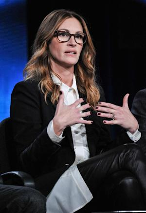 Julia Roberts speaks on stage during the Normal Hearts panel discussion at the HBO portion of the 2014 Winter Television Critics Association tour at the Langham Hotel on Thursday, Jan. 9, 2014 in Pasadena, Calif. (Photo by Richard Shotwell Invision/AP)