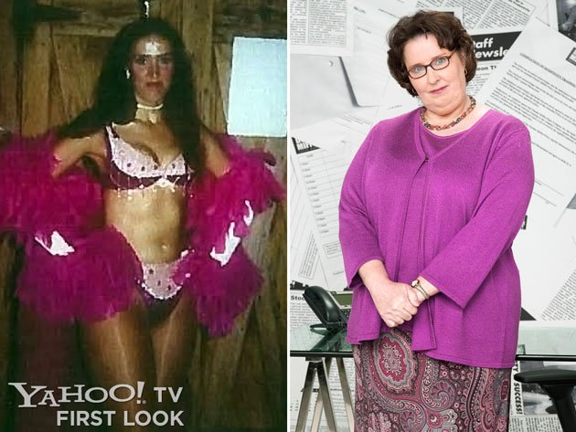 Phyllis Smith as a burlesque dancer circa 1978/79 and as Phyllis Vance on 'The Office'
