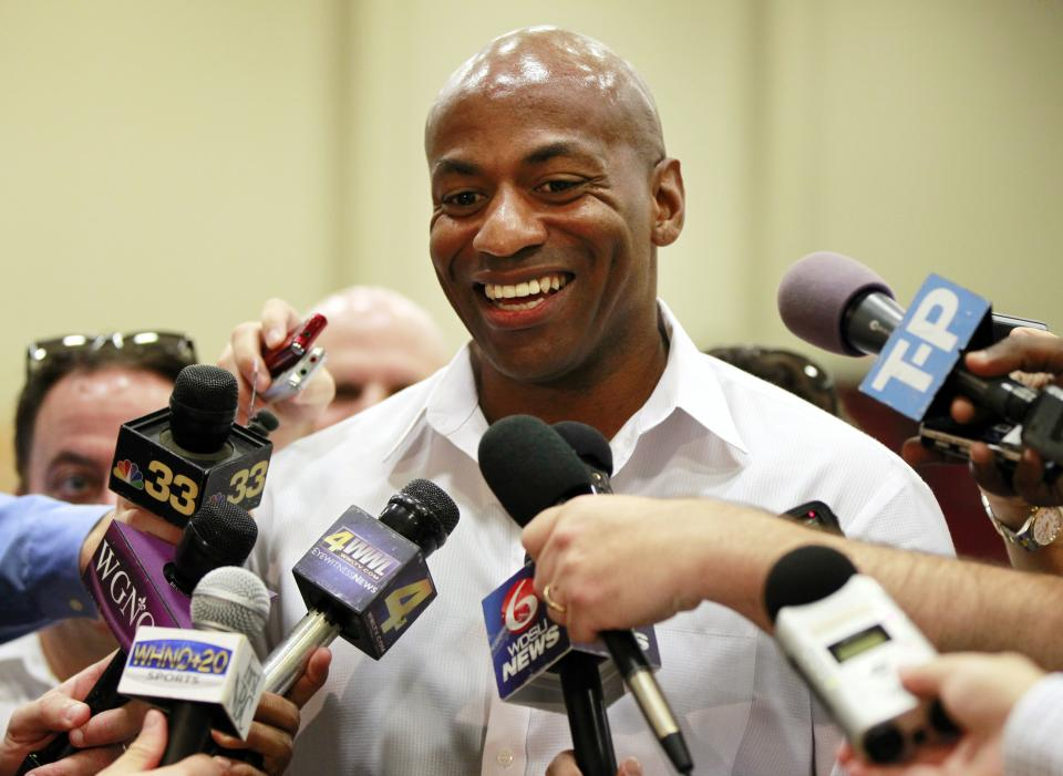 New Orleans Hornets general manager Dell Demps talks to reporters  at their practice facility in Westwego, La., Tuesday, June 19, 2012. The Hornets appear increasingly serious about pairing another front-court prospect with the consensus top overall draft choice Anthony Davis . (AP Photo/Gerald Herbert)