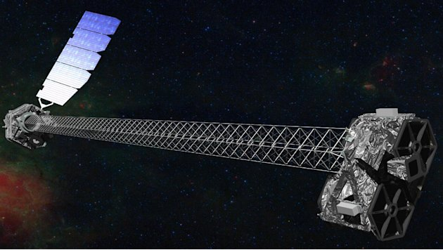 This image provided by NASA shows an artist rendering of the space agency's latest X-ray telescope. NuStar is set to launch on a two-year mission on Wednesday June 13,2012 from the Kwajalein Atoll in