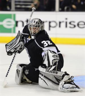 Los Angeles Kings goalie Jonathan Quick blocks a shot against the New Jersey Devils in the third period during Game 6 of the NHL hockey Stanley Cup finals,Monday, June 11, 2012, in Los Angeles.  (AP Photo/Mark J. Terrill)