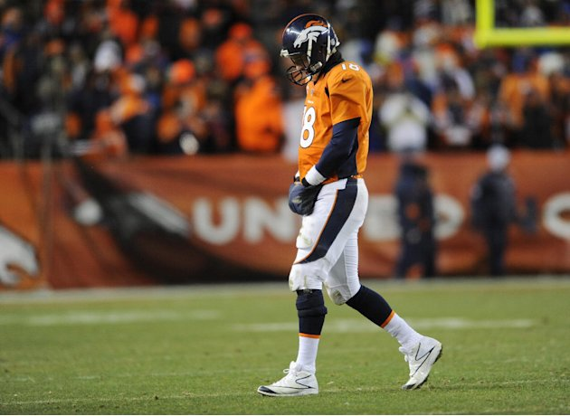 Denver Broncos quarterback Peyton Manning  walks off the field against the Baltimore Ravens in the fourth quarter of an AFC divisional playoff NFL football game, Saturday, Jan. 12, 2013, in Denver. (A