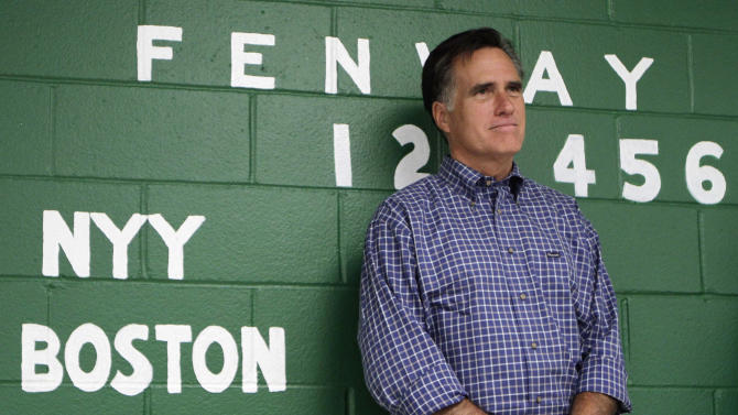 Republican presidential candidate, former Massachusetts Gov. Mitt Romney listens as he is introduced during a town hall meeting at the cities Recreation Center in Keene, N.H., Wednesday, Aug. 24, 2011.  (AP Photo/Jim Cole)