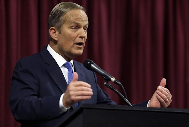 Rep. Todd Akin, R-Mo., speaks during the first debate in the Missouri Senate race Friday, Sept. 21, 2012, in Columbia, Mo. (AP Photo/Jeff Roberson)