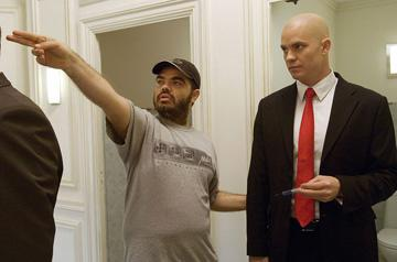 Director Xavier Gens and Timothy Olyphant on the set of 20th Century Fox's Hitman