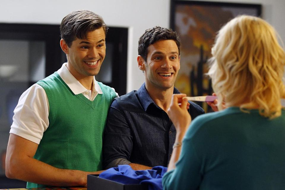 "This image released by NBC shows Andrew Rannells as Bryan, left, and Justin Bartha as David in a scene from ""The New Normal,"" premiering Sept. 11, 2012 at 9:30p.m. EST on NBC. (AP Photo/NBC, Trae Patton)"