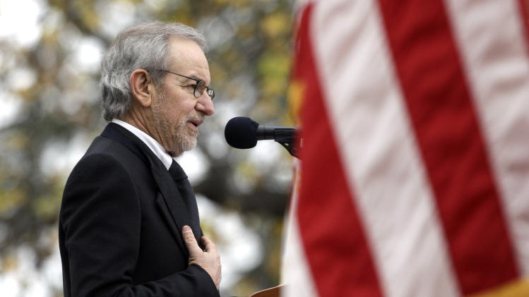 Director Steven Spielberg speaks at a ceremony to mark the 149th anniversary of President Abraham Lincoln's delivery of the Gettysburg Address at Soldier's National Cemetery in Gettysburg, Pa., Monday, Nov. 19, 2012. Spielberg and historian Doris Kearns Goodwin delivered remarks and participated in a wreath-laying ceremony. (AP Photo/Patrick Semansky)
