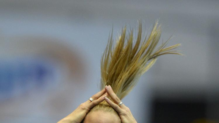Broersen of Netherlands competes in the high jump event during the women's pentathlon at world indoor athletics championships in Sopot