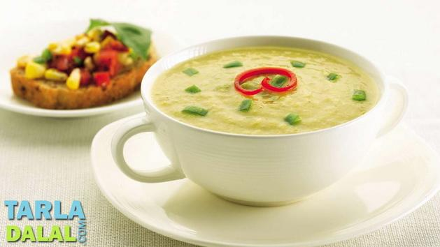 Sweet Corn and Capsicum Soup by Tarla Dalal