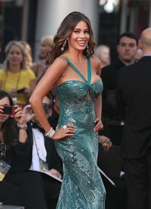 Sofia Vergara arrives at the 64th Primetime Emmy Awards at the Nokia Theatre on Sunday, Sept. 23, 2012, in Los Angeles. (Photo by Matt Sayles/Invision/AP)