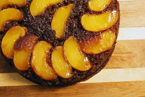 Upside-down Peach Gingerbread