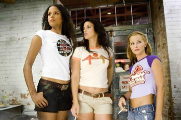"Sydney Poitier , Vanessa Ferlito and Jordan Ladd in the ""Death Proof"" segment of Dimension Films' Grindhouse"