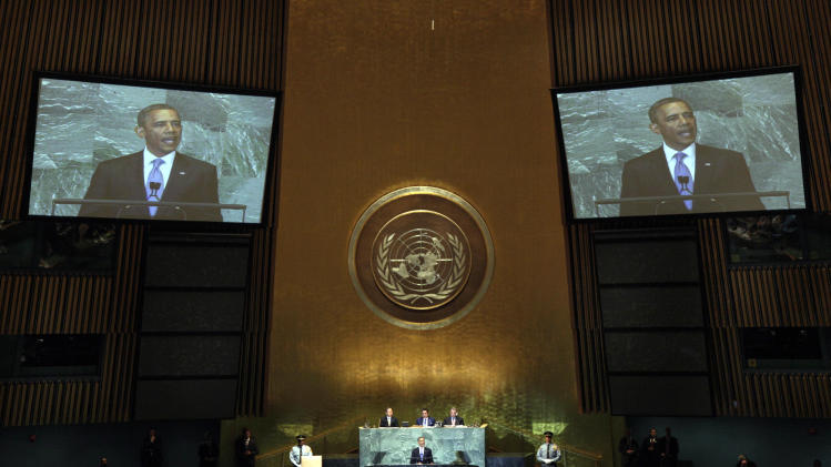 President Barack Obama addresses the 66th session of the United Nations General Assembly, Wednesday, Sept. 21, 2011. (AP Photo/Richard Drew)