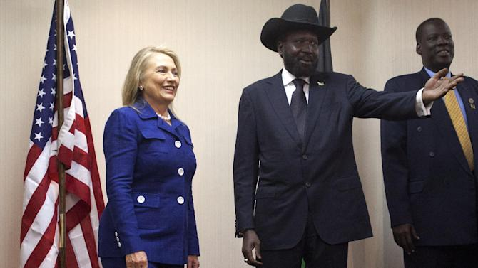 Secretary of State Hillary Rodham Clinton meets with South Sudan President Salva Kiir, Friday, Aug. 3, 2012, at the Presidential Office Building in Juba, South Sudan. (AP Photo/Jacquelyn Martin, Pool)