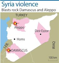 Blasts have rocked Damascus and the country&#39;s second city Aleppo, killing several people, the Britain-based Syrian Observatory for Human Rights said