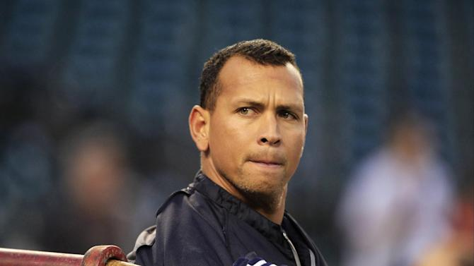 """FILE - In this Wednesday, Oct. 17, 2012 file photo, New York Yankees' Alex Rodriguez takes batting practice before Game 4 of the American League championship series against the Detroit Tigers, in Detroit. Major League Baseball says it is """"extremely disappointed"""" about a new report that says records from an anti-aging clinic in the Miami area link Rodriguez and other players to the purchase of performance-enhancing drugs. (AP Photo/Carlos Osorio, File)"""