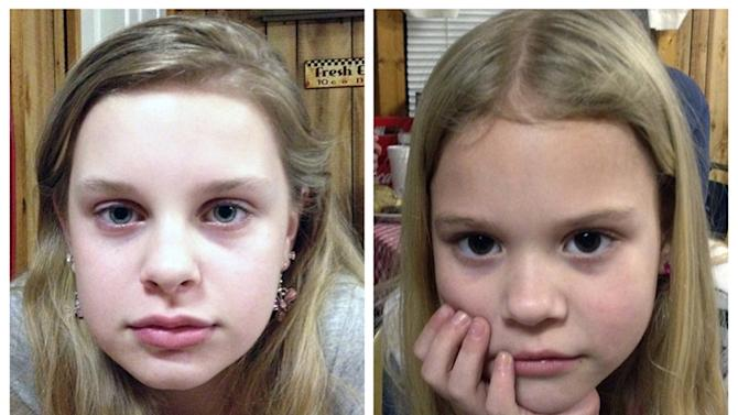 FILE - This combo of file photos provided by the Mississippi Department of Public Safety shows  Alexandria Bain, 12, left, and Kyliyah Bain, 8. Adam Mayes, wanted by the FBI for killing Jo Ann Bain, 31, and her daughter, Adrienne Bain, 14, and kidnapping sisters Alexandria Bain, 12, and Kyliyah Bain, 8, shot himself to death as officers closed in Thursday evening, May 10, 2012, in Guntown, Miss. The two children were rescued without injuries and released from a hospital Friday, ending a nearly two-week search that began when Jo Ann Bain and her three daughters disappeared from their Tennessee home April 27. (AP Photo/Mississippi Department of Public Safety, File)