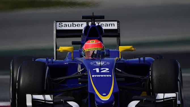 Felipe Nasr of Brazil steers his Sauber F1 car during the 2015 Formula One testing at the Barcelona Catalunya racetrack in Montmelo, Spain, Friday, Feb. 27, 2015. (AP Photo/Manu Fernandez)