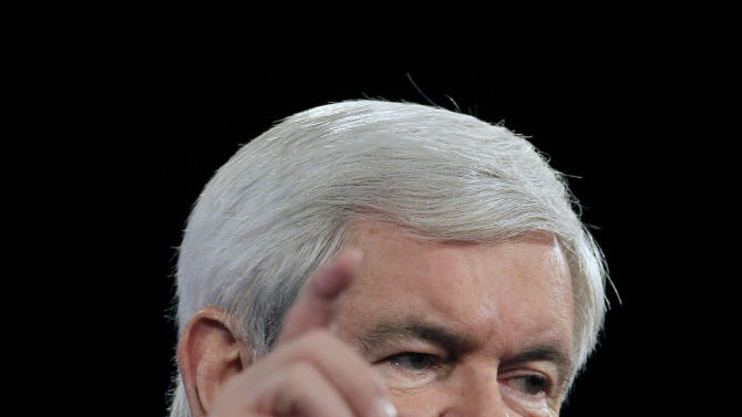 Republican presidential candidate, former House Speaker Newt Gingrich, speaks to delegates before a straw poll during a Florida Republican Party Presidency 5 Convention Saturday, Sept. 24, 2011, in Orlando, Fla. (AP Photo/John Raoux)