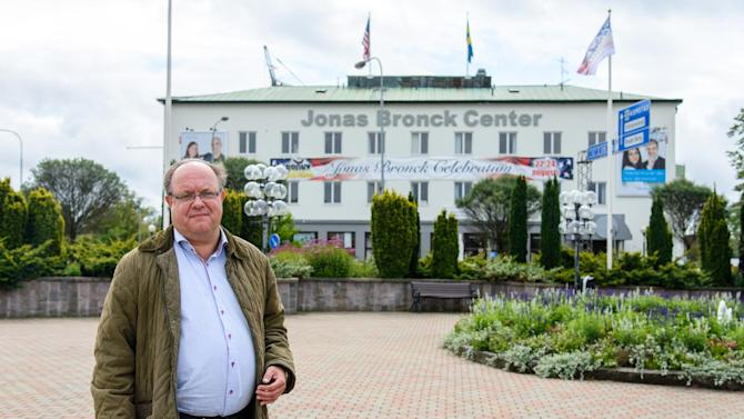 In this handout photo taken on Aug. 20, 2014, provided by the Savsjo municipality, Roy Gustafsson the co-founder of the Jonas Bronck Center, poses for a photograph outside the center in Savsjo, Sweden. The founder of The Bronx _ one of New York's five boroughs _ is finally getting recognition in his native Sweden, where Jonas Bronck's home town on Saturday will celebrate the 375th anniversary of his arrival in America. (AP Photo/Ida Bengstsson)
