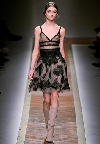 Valentino, FW 2011  Like I said, black lace. This has a little more extra volume that matches the…