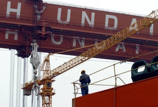 This file photo shows Hyundai Heavy Industries shipyard in Ulsan, in 2005. Hyundai has won a $3.2 billion order to build a thermal power plant in Saudi Arabia for state-run Saudi Electricity, according to a report