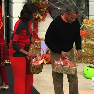 Trick-or-treaters visit the White House