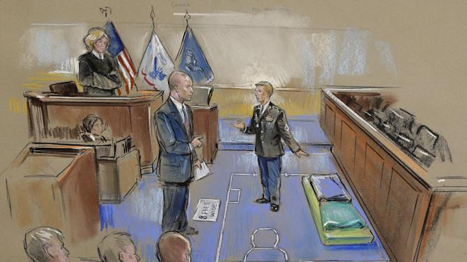In this courtroom sketch, Army Pfc. Bradley Manning, center, describes a layout of his pretrial confinement cell in a Quantico, Va., Marine Corps brig while testifying at a pretrial hearing in Fort Meade, Md. on Thursday, Nov. 29, 2012. Military Judge, Col. Denise Lind, is at top left, and Manning's defense attorney David Coombs, is at second from left. (AP Photo/William Hennessy) NO TV, NO ARCHIVE, NO SALES, LOCALS OUT