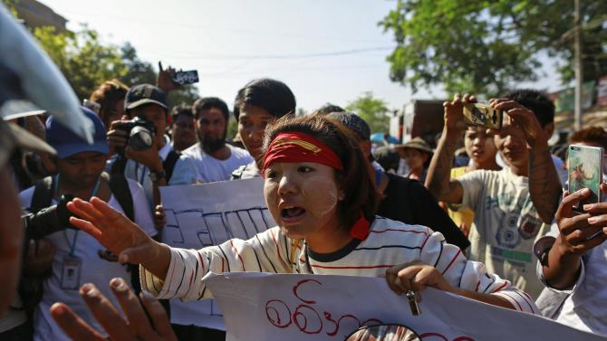 Students protest against an education bill in Letpadan, Bago