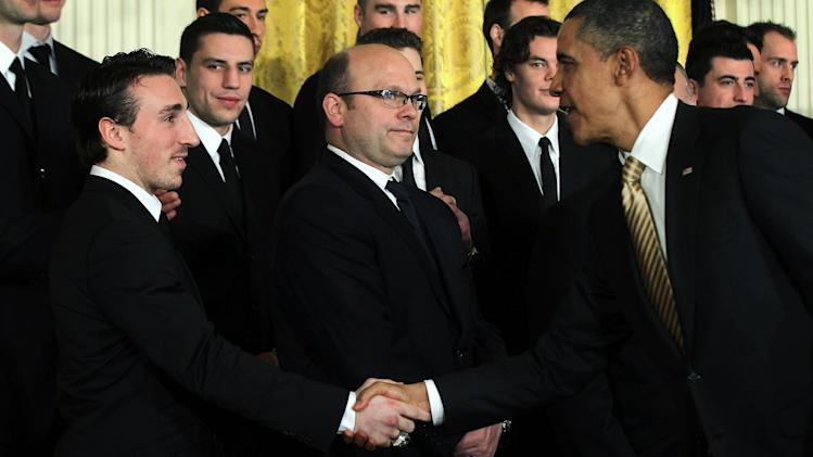 Obama Welcomes NHL Champion Boston Bruins To The White House