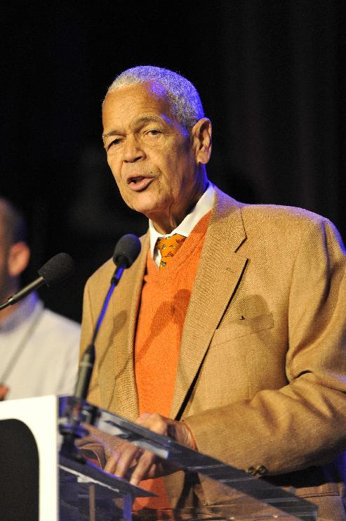 "Civil rights legend Julian Bond speaks at the AIDS Healthcare Foundation's ""Keep The Promise On AIDS"" March and Rally, on Saturday, May 11, 2013 in Cleveland, Ohio. (David Richard /AP Images for AIDS Healthcare Foundation)"