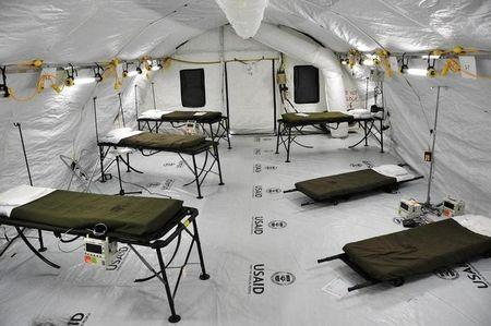 Ebola treatment facility specifically built for medical workers who become infected is seen in a U.S. Army handout picture in Monrovia