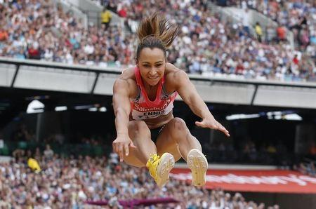 Great Britain's Jessica Ennis-Hill competes in the women's long jump event at the London Diamond League 'Anniversary Games' athletics meeting in east London