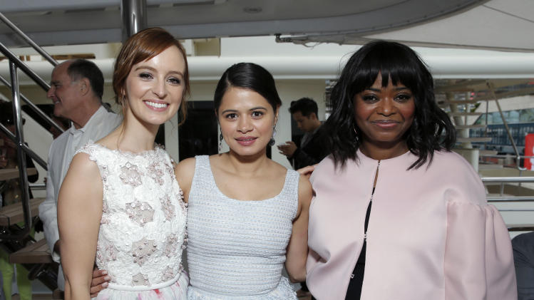In this photo taken Sunday, May 19, 2013, Ahna O'Reilly, Melonie Diaz and Octavia Spencer at the Art of Elysium Party, in Cannes, southern France. This is O'Reilly's first trip to the Cannes Film Festival, and she was the guest of honor at the event, hosted by the charity Art of Elysium. (Photo by Todd Williamson/Invision/AP)