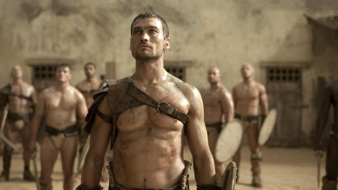 "In this TV publicity image released by Starz, Andy Whitfield portrays Spartacus  in the Starz original series, ""Spartacus.""   (AP Photo/Starz Entertainment, LLC)"