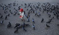 "A child feeds pigeons at dawn on New Year's Day at Yangon jetty on January 1, 2013. Myanmar President Thein Sein on Tuesday called for ""mutual trust"" between the ruling regime and the people in his first New Year address since taking power and ushering in sweeping reforms"