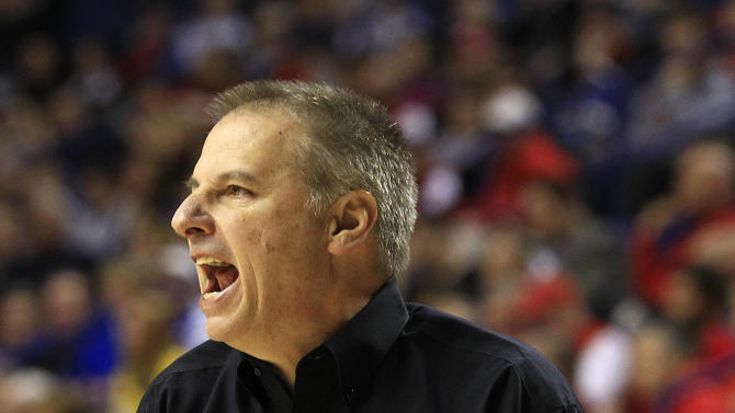 Colorado State head coach Larry Eustachy reacts during the first half of their second-round NCAA college basketball tournament game against Missouri, Thursday, March 21, 2013, in Lexington, Ky. (AP Photo/James Crisp)