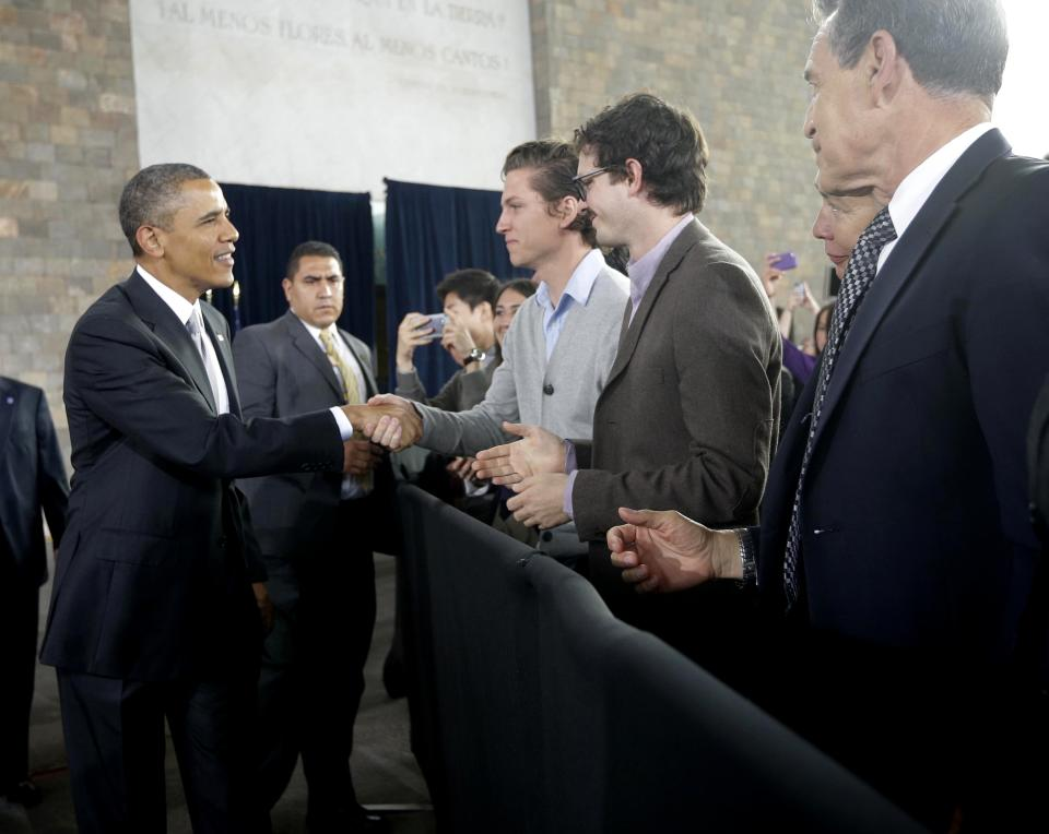 US President Barack Obama greets guests before speaking at the Anthropology Museum in Mexico City, Friday, May 3, 2013. (AP Photo/Pablo Martinez Monsivais)