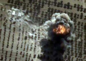A video grab purporting to show a Russian air strike…
