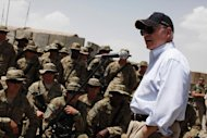 Then US defense secretary Robert Gates speaks to troops at Combat Outpost Andar in Ghazni Province, Afghanistan, on June 6, 2011 (AFP Photo/Jason Reed)